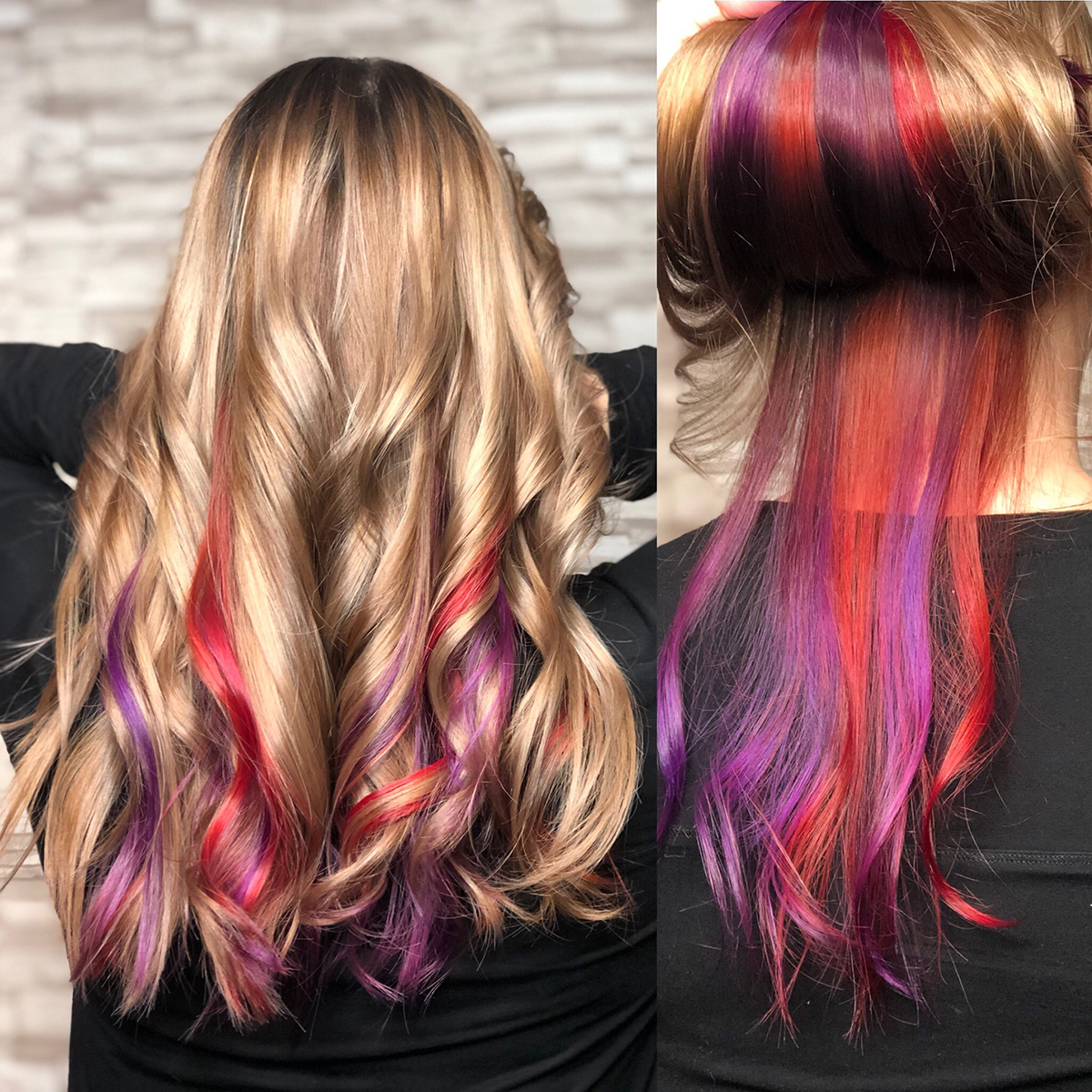 Hair coloring fashion multiple colors